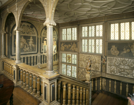 The Great Staircase at Knole was remodelled by Thomas, 1st Earl of Dorset between 1605-1608 at Knole, Sevenoaks, Kent