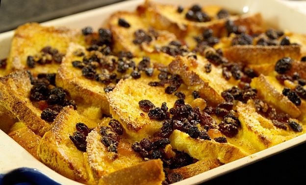 traditional bread and butter pudding with egg custard sugar and