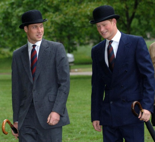 Prince William and Prince Harry, right, parade in suits and bowler hats with the Combined Cavalry Old Comrades' Association, in Hyde Park, London, Sunday May 13, 2007. The tradition of officers wearing black bowler hats and carrying umbrellas goes back to the First World War. (AP Photo/Stefan Rousseau,PA) ** UNITED KINGDOM OUT **